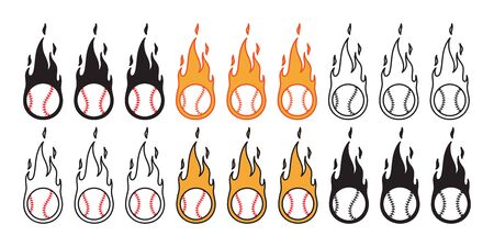 baseball vector icon fire ball logo softball sport cartoon character symbol illustration doodle design Иллюстрация
