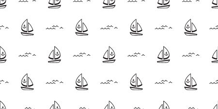 boat seamless pattern vector yacht pirate Anchor helm maritime Nautical sea ocean wave scarf isolated repeat wallpaper tile background doodle design Иллюстрация