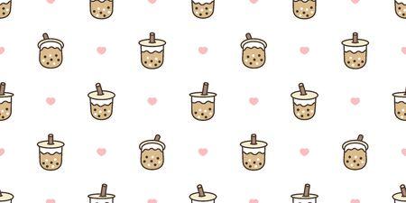 Boba tea seamless pattern vector bubble milk tea heart valentine scarf isolated repeat wallpaper tile background illustration doodle design