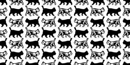 cat seamless pattern Halloween vector kitten skull bone skeleton cartoon scarf isolated repeat wallpaper tile background illustration doodle design
