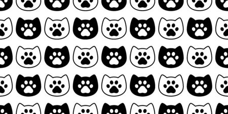 cat seamless pattern paw vector dog footprint kitten head cartoon scarf isolated repeat wallpaper tile background doodle illustration design
