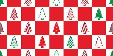 christmas tree seamless pattern vector checked polka dot striped heart wood forest scarf isolated cartoon tile wallpaper repeat background doodle illustration design