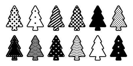 christmas tree vector icon polka dot striped Santa Claus heart checked cartoon symbol illustration design