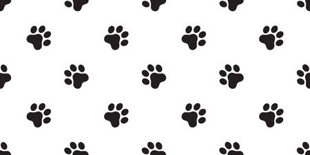 dog paw seamless pattern footprint vector french bulldog cartoon scarf isolated repeat wallpaper tile background illustration doodle design Иллюстрация