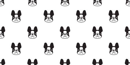 dog seamless pattern vector french bulldog cartoon scarf isolated tile wallpaper repeat background illustration doodle design Иллюстрация