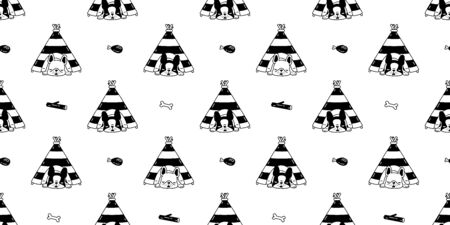 dog seamless pattern french bulldog vector tent house sleeping bone toy cartoon scarf isolated tile background repeat wallpaper doodle illustration design Иллюстрация