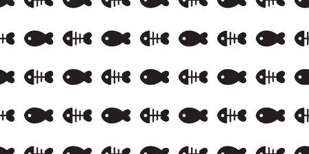 fish bone Seamless pattern vector tuna shark salmon cartoon scarf isolated dolphin whale ocean sea repeat wallpaper tile background illustration design Иллюстрация