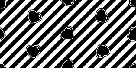heart seamless pattern valentine vector stripes cartoon scarf isolated repeat wallpaper tile background illustration doodle design Иллюстрация