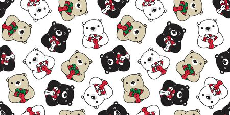 Bear seamless pattern Christmas vector polar bear Gift box Santa Claus hat scarf isolated cartoon repeat wallpaper tile background illustration doodle design