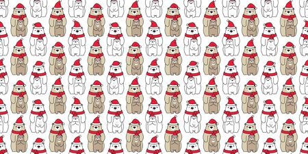 Bear seamless pattern Christmas vector polar bear Santa Claus hat scarf isolated kid cartoon repeat background tile wallpaper illustration doodle design