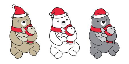 Bear vector icon polar bear Christmas Santa Claus hat scarf cartoon character teddy baby kid logo illustration doodle design