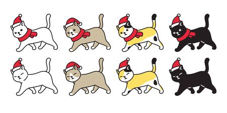 cat icon vector Christmas Santa Claus hat kitten calico logo walking character cartoon ginger symbol illustration doodle design
