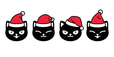 cat vector Christmas icon Santa Claus kitten head black logo cartoon character doodle illustration design Illustration