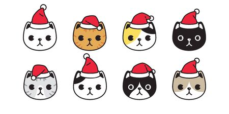 cat vector Christmas Santa Claus hat kitten calico head icon logo symbol cartoon character illustration design