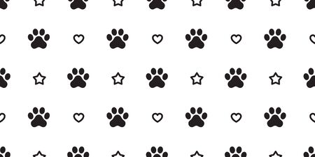 dog paw seamless pattern footprint vector french bulldog heart star icon valentine cartoon scarf isolated repeat wallpaper tile background illustration design
