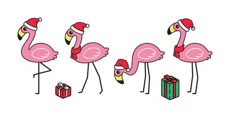 flamingo vector Christmas icon Santa Claus hat gift box bird cartoon character animal exotic nature wild fauna illustration doodle design