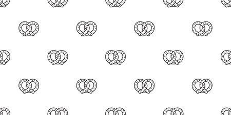 pretzel seamless pattern cookie vector snack bread scarf isolated wallpaper tile background illustration design