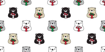 Bear seamless pattern Christmas vector polar bear Gift box Santa Claus hat scarf isolated cartoon repeat background tile wallpaper illustration doodle design Illustration