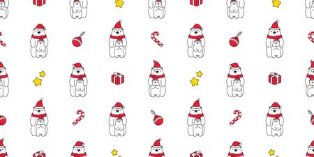 Bear seamless pattern Christmas vector polar bear Santa Claus hat scarf isolated candy cane gift box cartoon repeat background tile wallpaper illustration doodle design