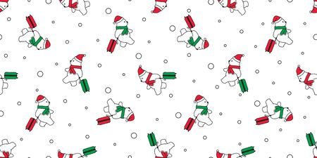 Bear seamless pattern vector Christmas polar bear Santa Claus hat traveler scarf isolated snow cartoon repeat background tile wallpaper illustration design Stock Vector - 138533419