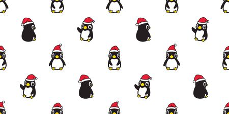 penguin seamless pattern Christmas vector Santa Claus hat scarf isolated repeat wallpaper tile background cartoon character illustration design Stock Illustratie