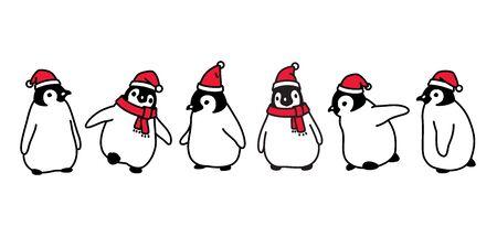 penguin vector Christmas Santa Claus hat icon logo cartoon character illustration symbol graphic doodle design