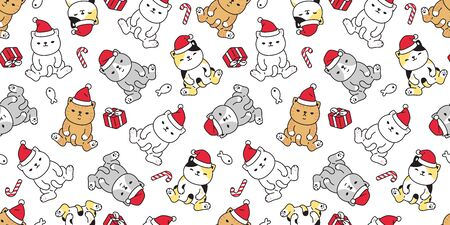 cat seamless pattern Christmas vector Santa Claus hat kitten candy cane gift box cartoon scarf isolated repeat wallpaper tile background illustration doodle design Illustration