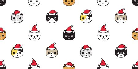 cat seamless pattern Christmas vector Santa Claus hat kitten head cartoon scarf isolated repeat wallpaper tile background illustration doodle design