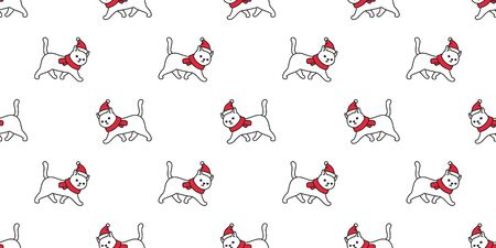 cat seamless pattern Christmas vector Santa Claus hat kitten walking cartoon scarf isolated repeat wallpaper tile background illustration doodle design