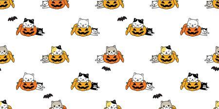 cat seamless pattern Halloween pumpkin vector kitten bat scarf isolated repeat wallpaper tile background cartoon character doodle illustration design Stock Illustratie