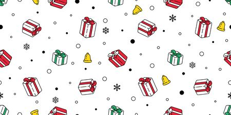 Christmas seamless pattern vector Santa Claus hat snow snowflake gift box scarf isolated repeat wallpaper tile background gift wrap paper doodle design Stock Illustratie