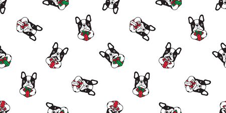 dog seamless pattern Christmas vector french bulldog Santa Claus hat gift box paw footprint scarf isolated cartoon repeat background tile wallpaper illustration design
