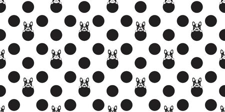 dog seamless pattern vector french bulldog polka dot scarf isolated repeat wallpaper tile background cartoon doodle illustration design