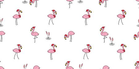 flamingo seamless pattern Christmas vector Santa Claus hat bird cartoon scarf isolated repeat wallpaper tile background animal exotic nature wild fauna illustration doodle design 일러스트