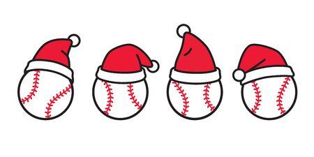 baseball vector Christmas icon Santa Claus hat logo softball sport cartoon character symbol doodle illustration design