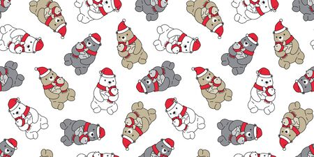 Bear seamless pattern Christmas vector polar bear Santa Claus hat scarf isolated cartoon repeat wallpaper tile background doodle illustration design