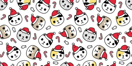 cat seamless pattern Christmas vector Santa Claus hat kitten head candy cane cartoon scarf isolated repeat wallpaper tile background illustration doodle design Illustration