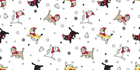 cat seamless pattern Christmas vector Santa Claus hat kitten snowflake bell cartoon scarf isolated repeat wallpaper tile background illustration doodle design Illustration