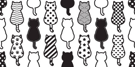 cat seamless pattern vector kitten footprint paw Christmas polka dot stripes Checked Heart Valentine scarf isolated cartoon repeat wallpaper tile background illustration design