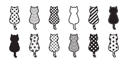 cat vector kitten icon footprint paw Christmas logo symbol polka dot Checked stripes Heart Valentine cartoon character illustration design