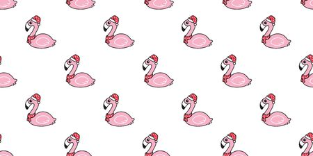 pink flamingo seamless pattern Christmas vector Santa Claus hat scarf isolated Cartoon Cute flamingos animal exotic nature wild fauna repeat wallpaper tile background illustration design