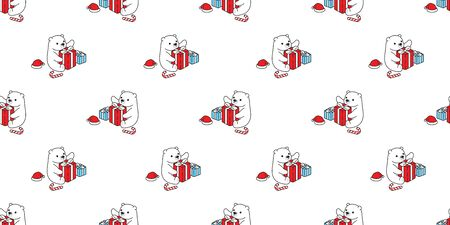 Bear seamless pattern Christmas vector polar bear Santa Claus hat gift box candy cane scarf isolated cartoon repeat wallpaper tile background doodle illustration design