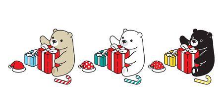 Bear vector icon polar bear Christmas Santa Claus hat gift box candy cane scarf cartoon character teddy logo illustration doodle design Stock Vector - 138533716
