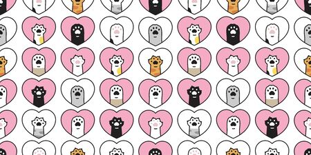cat paw seamless pattern heart valentine vector footprint dog kitten cartoon scarf isolated repeat wallpaper tile background doodle illustration design