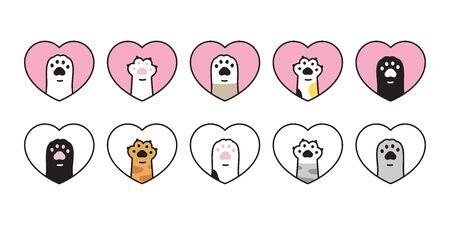 cat paw vector kitten icon footprint Heart Valentine logo symbol cartoon character illustration doodle design Stock Illustratie