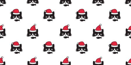 cat seamless pattern Christmas vector Santa Claus hat kitten head cartoon scarf isolated repeat wallpaper tile background doodle illustration design
