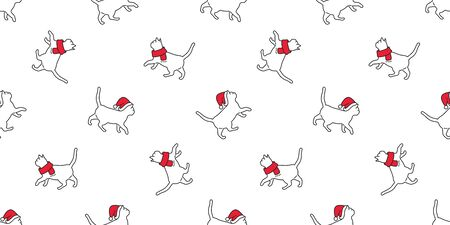 cat seamless pattern Christmas vector Santa Claus hat kitten walking cartoon scarf isolated repeat wallpaper tile background doodle illustration white design