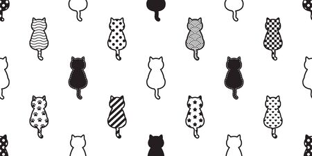 cat seamless pattern vector kitten footprint paw Christmas polka dot Checked stripes Heart Valentine scarf isolated cartoon repeat wallpaper tile background illustration design Illustration