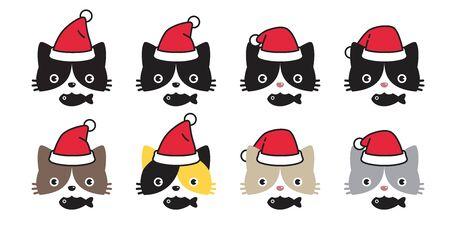 cat vector icon Christmas Sant Claus hat kitten logo symbol cartoon character illustration doodle design