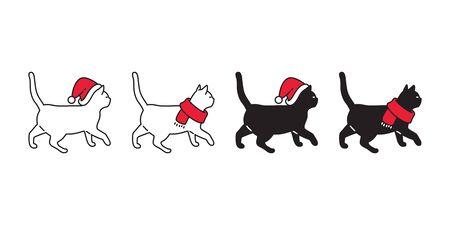 cat vector icon Christmas Sant Claus hat kitten walking logo symbol cartoon character illustration doodle design